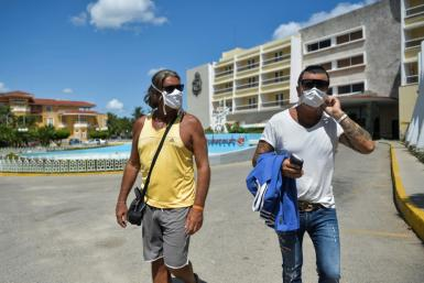 Italian tourists sightsee in Havana after spending time in quarantine during the coronavirus pandemic
