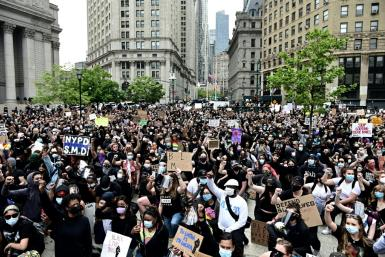 New York marchers are seen as as the Black Lives Matter protest movement sweeps the US