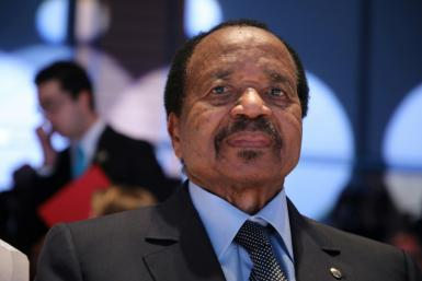The RSF described Wazizi's death as the country's worst assault on journalists in a decade; pictured is an October 2019 file image of President Paul Biya