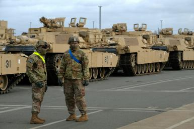 US military personnel and M1 Abrams tanks in German ahead of war games in February 2020