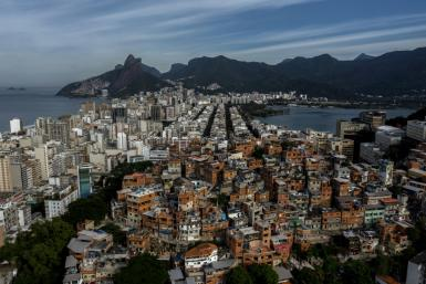 Aerial view showing the Pavao-Pavaozinho favela surrounded by the neighbourhoods of Copacabana, Ipanema and Lagoa. A judge has banned police raids on favelas during the coronavirus pandemic