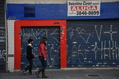 A shuttered storefront in Sao Paulo, Brazil, where small businesses have been ravaged by the coronavirus pandemic
