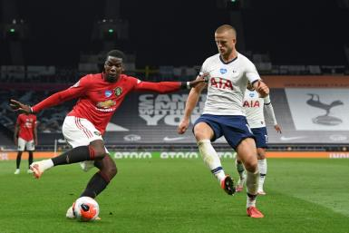 Paul Pogba (left) made a big impact as a second half substitute for Manchester United at Tottenham