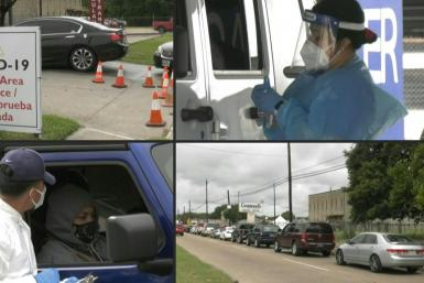 Long lines of cars stretch around the corner at the COVID-19 drive-through testing site at Houston's United Memorial Medical Center, as coronavirus cases in Texas surge.