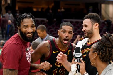 Andre Drummond #3 Tristan Thompson #13 and Larry Nance Jr. #22 of the Cleveland Cavaliers