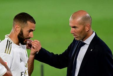 Moment of magic: Karim Benzema seen here with Real Madrid coach Zinedine Zidane