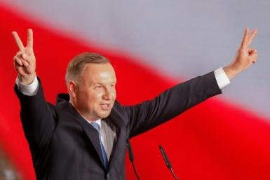 Polish President Andrzej Duda, in a June 28, 2020 image, wants to ban adoption by same-sex couples