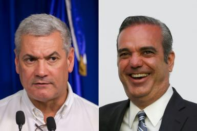 Gonzalo Castillo (L), candidate of the Dominican Liberation Party, and Luis Abinader, of the Modern Revolutionary Party, were considered the top two contenders in the Dominican Republic's presidential elections
