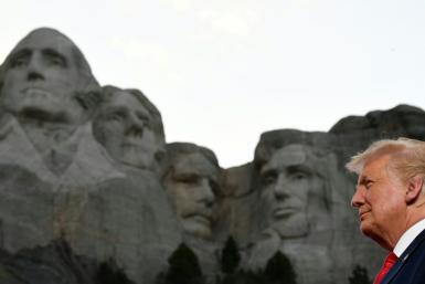 "Trump introduced his plan for a ""heroes"" park in a speech July 3, 2020 near the Mount Rushmore presidential monument in South Dakota"