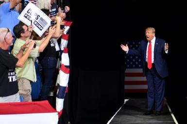 US President Donald Trump arrives for a campaign rally at the BOK Center on June 20, 2020 in Tulsa, Oklahoma -- images showed the stadium was filled to less than a third of its capacity