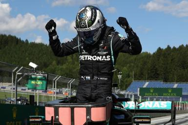 Valtteri Bottas celebrates winning the Austrian Grand Prix