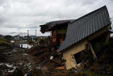 The rains have loosened the ground, causing houses to collapse