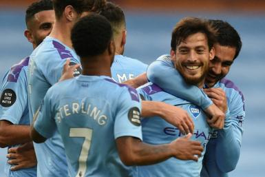 David Silva (second right) scored on one of his final appearances for Manchester City at the Etihad