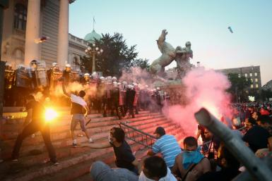 The Serbian capital Belgrade has been hit by clashes, with protesters outraged over the government's handling of the pandemic and the return of a round-the-clock weekend lockdown