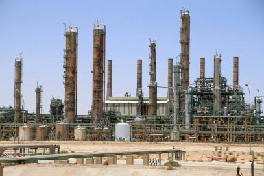 A picture taken on June 3, 2020 shows an oil refinery in Libya's northern town of Ras Lanuf