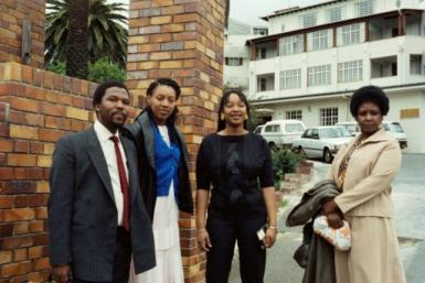File picture from November 1985 at the height of the apartheid era: Winnie Madikizela-Mandela with her daughters Zenani, centre, and Zindzi, left, visiting Nelson Mandela after he underwent surgery in a Cape Town hospital