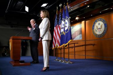 US Speaker of the House Nancy Pelosi and US Senate Minority Leader Chuck Schumer have been in talks with the White House over a new emergency aid plan, after Republicans 'failed, in spectacular fashion' to come up with a plan with broad support