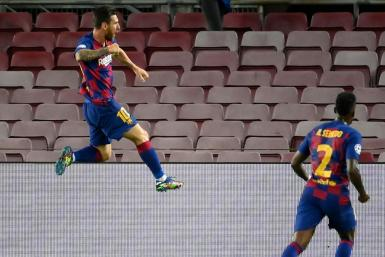Lionel Messi scored Barcelona's second goal against Napoli on Friday.