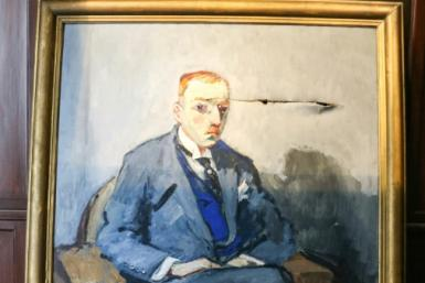 A circa-1930 portrait of Nicolas Sursock, painted by renowned Dutch-French artist Kees Van Dongen, was among the damaged artworks