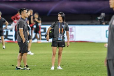 Erica Hernandez of Qingdao Huanghai is thought to be the first and only female physio in the upper tiers of Chinese football