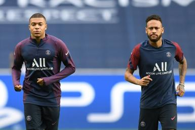 Kylian Mbappe and Neymar at Paris Saint-Germain's training session in Lisbon on Tuesday, on the eve of their Champions League quarter-final against Atalanta