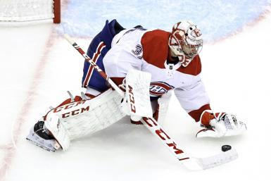 Montreal goaltender Carey Price makes a save in the Canadiens' 5-0 NHL playoff victory over the Philadelphia Flyers