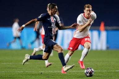 Angel Di Maria in action for PSG against Leipzig