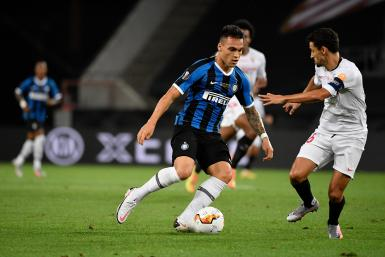 Lautaro Martinez of Internazionale, Jesus Navas of Sevilla