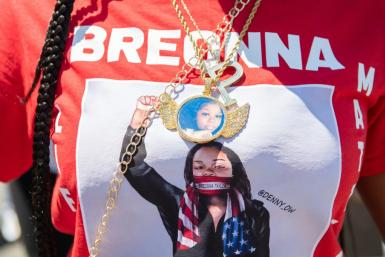 A T-shirt worn during a protest on July 12, 2020 in St. Paul, Minnesota, pays homage to Breonna Taylor, who died when police executing a search warrant burst into her apartment and exchanged fire with her boyfriend