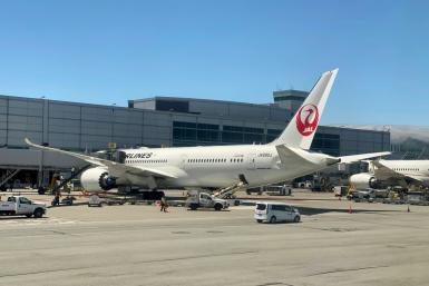 A Boeing 787 of Japan Airlines (JAL) at the gate at San Francisco International Airport (SFO) on July 30, 2020: Boeing has reported that parts in eight of its 787 airplanes do not meet its production standards