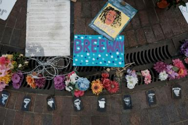 A memorial to Breonna Taylor in Louisville, Kentucky -- on Wednesday, many expressed anger that only one police officer was charged in relation to her shooting