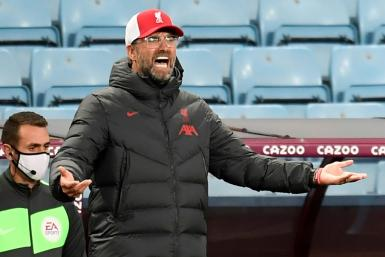 Liverpool manager Jurgen Klopp gestures on the touchline during his team's 7-2 defeat against Aston Villa