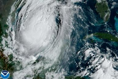 Hurricane Delta moves towards the US on October 8, 2020 in a satellite image provided by the National Oceanic and Atmospheric Administration