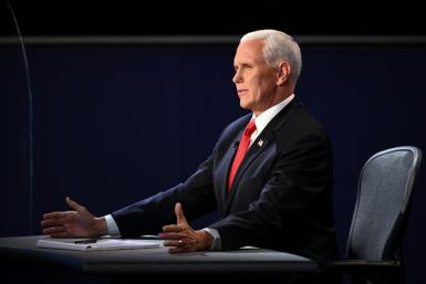 """US Vice President Mike Pence, pictured during the vice presidential debate on October 7, 2020, in Salt Lake City, Utah, said he hopes Amy Coney Barrett """"gets a fair hearing"""""""
