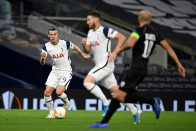 On the ball: Tottenham Hotspur's Gareth Bale in action on Thursday