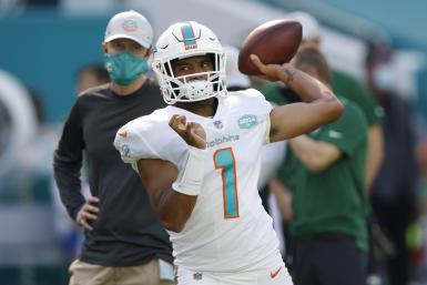 Tua Tagovailoa #1 of the Miami Dolphins