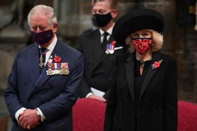 Britain's Prince Charles, Prince of Wales and Britain's Camilla, Duchess of Cornwall attended a service to commemorate the centenary of the burial of the Unknown Warrior at Westminster Abbey