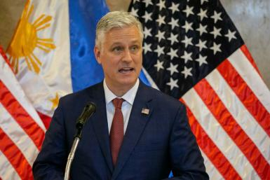 US National Security Advisor Robert O'Brien speaks during a ceremony at the Philippines Department of Foreign Affairs office in Manila