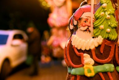 At the Christmas market in Landshut, southern Germany, the essentials are there, but you have to pick them up by car