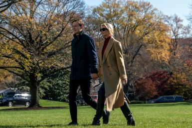 Senior Advisors to the President Jared Kushner and Ivanka Trump arrive at the White House aboard Marine One on November 29, 2020