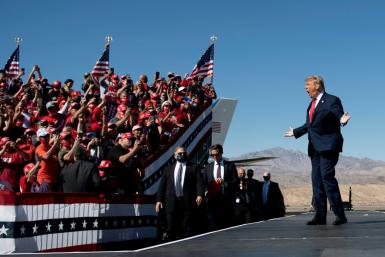 Donald Trump -- seen here at a campaign rally in Arizona in October 2020 -- may launch a 2024 run on the same day that Joe Biden takes the oath of office