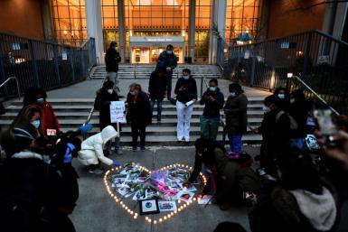 Nurses at Mount Sinai hospital in Manhattan join in a memorial co-organized by Dianna Torres for colleagues who died of Covid-19 in April 2020