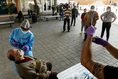 A file picture shows people getting free Covid-19 tests in the Cyprus capital Nicosia on November 18, 2020