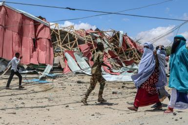 The scene of a 2019 suicide car bomb explosion in Mogadishu, Somalia claimed by the Al-Shabaab militant group