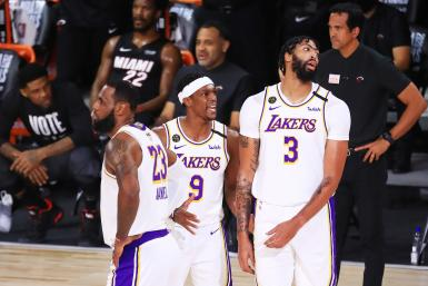 Rajon Rondo #9 of the Los Angeles Lakers, Anthony Davis #3 of the Los Angeles Lakers and LeBron James #23 of the Los Angeles Lakers