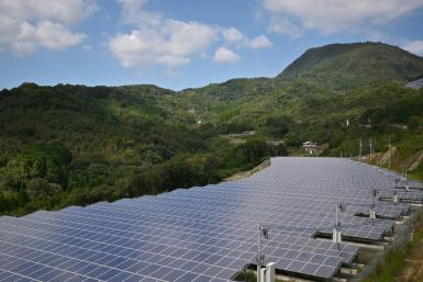 Solar panels in the Japanese city of Yufu, Oita prefecture. Japan sourced about 17 percent of its energy from renewables in 2017