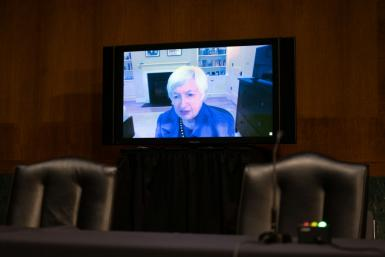 Janet Yellen appeared remotely at her Senate hearing for her nomination as President-elect Joe Biden's Treasury secretary