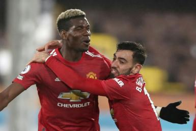 Manchester United midfielder Paul Pogba celebrates scoring against Fulham