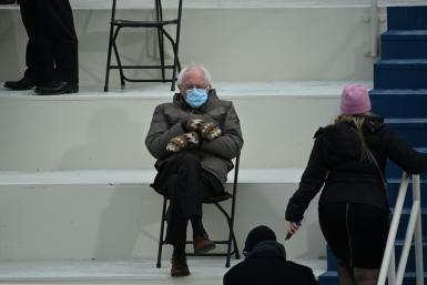 This photo of Bernie Sanders at the Biden inauguration by AFP's Brendan Smialowski spawned many memes on social media, poking fun at the Vermont senator's style