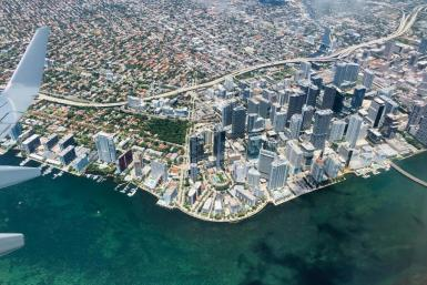 This file photo from May 22, 2019, shows an aerial view of Miami; the Florida metropolis, already a financial hub, is striving to become a leading technology hub as well